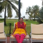 Rekha at pool side at HolidayInn Resorts