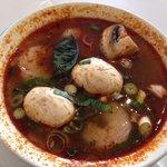 Tom Yum soup with prawns.