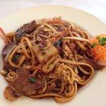 Noodles with Kangaroo and schezuan sauce.
