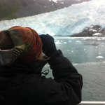 Watching the calving glacier up close and personal!
