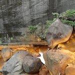 沈殿した酸化鉄で川底も黄褐色