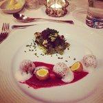 Amazing starter - kofta with quails egg and garlic foam