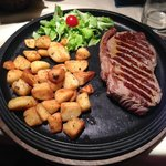 Steak with potatoes, yum!