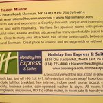 hotel information printed on Lake Erie Wine Country brochure.
