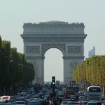 The Champs Elysees, eastern view at the Arc de Triomphe