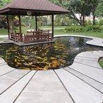"Nice fish pond and mini ""pendopo"""