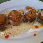 Crawfish Stuffed Mushrooms $8.50 Pan seared mushrooms stuffed with Louisiana crawfish served wit