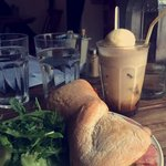 Bacon,Brie and avocado ciabatta with Aussie style iced coffee!