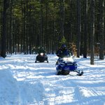 Winter camping, near snowmobile trails