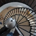 view down the Windmill Suite spiral staircase