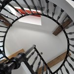 View up the Windmill Suite spiral staircase