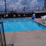 The pool. 3-5 feet  deep. plenty of chairs.
