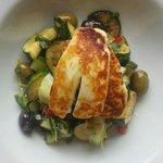 Courgette.  Cucumber. Olive & halloumi salad.