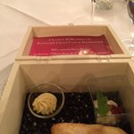 Restaurant - free guest welcome gift dish (small ciabatta bread with cream spread and butter, ta