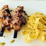 Grilled pork with pasta