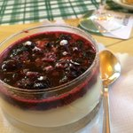 Panna cotta with fruit compote.