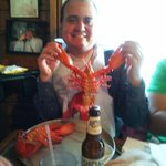 Gerardo making friends with the lobsters