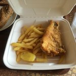 Portion size of adult fish and chips totaling £6.95!