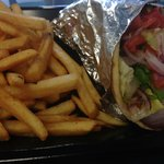 Chicken Souvlaki with Fries. Delicious!