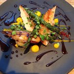Chicken Breast, Asparagus, Shallots, Bacon Crisp and Carrot Purée