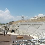 Greek amphitheatre showing wooden seating and stage