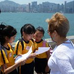 Chinese students studying English stopped us on Promenade to practice their English.