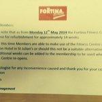 Notification of Gym closure