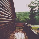 The cabins after a rainy afternoon.
