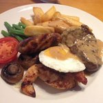 mixed grill with pepper sauce