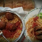 Take out spaghetti and meatballs.  This was one of two plates served from this order.