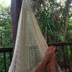 Enjoying the hammock on the deck