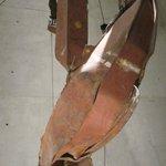 Steel girders impacted by plane north tower