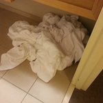 Towels that piled up because housekeeping never came
