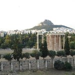 View of the temple of Zeus from the Royal Olympic hotel