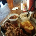 Pork platter.  Potato salad baked beans