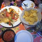 Chicken fajitas, chips and salsa, and margaritas!