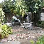 Beautiful patio surrounded by tropical plants