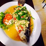 Steamed red snapper