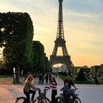 Riding bikes to the Eiffel Tower