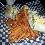 Chicken cesaer wrap with Sweet potato Fries