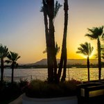 The sun setting on the River Nile . View from Room 010 at the Hilton Luxor Resort and Spa.