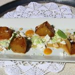 Grilled pineapple with pistacio and coconut snow