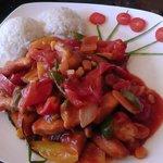 riso,bocconcini di pollo e caponata