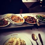 Garlic pork, red thai chicken curry, crispy chilli beef and duck with broccoli