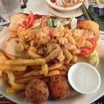 Lunch menu shrimp po boy. The bread is awesome,& fries some of the best ever.