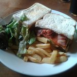 Chicken, Chorizo & Bacon Club Sandwich with Chips