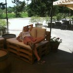 Our guide, Jill, relaxing in the shade at the winery.