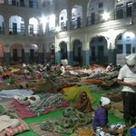 pilgrims sleeping in the temple complex