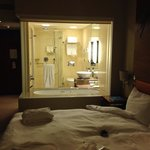 Room view into bathroom
