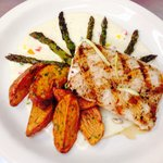 Mahi Mahi with roasted red potatoes and asparagus. Very nice special.